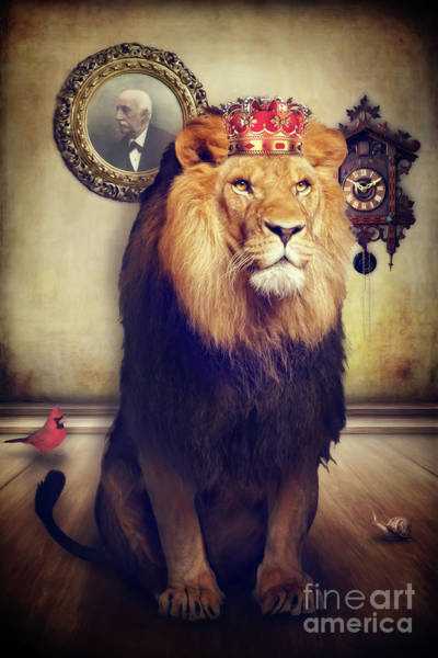 Mixed Media - The Royal Lion by Angela Doelling AD DESIGN Photo and PhotoArt