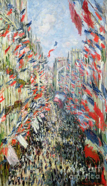 Crowd Painting - The Rue Montorgueil by Claude Monet