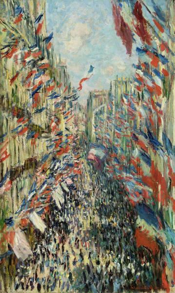 Parisian Cafe Painting - The Rue Montorgueil In Paris, Celebration Of June 30, 1878 by Claude Monet