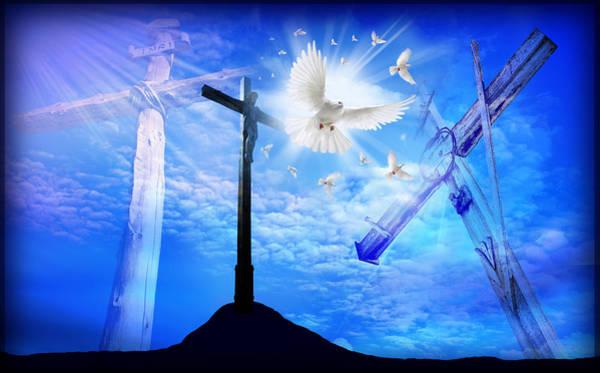Croce Digital Art - The Rugged Cross On Calvary by AJ Fortuna