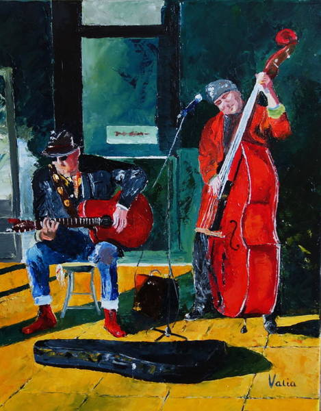 Bass Guitar Painting - The Rum Dogs by Valerie Curtiss