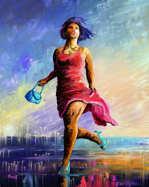 Wall Art - Painting - The Runner by Anthony Mwangi