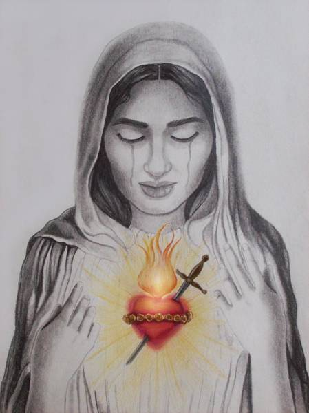 Amber Drawing - The Sacred Heart by Amber Stanford