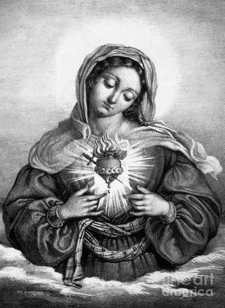 Madonna Drawing - The Sacred Heart Of Mary by French School