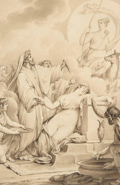 Jeans Drawing - The Sacrifice Of Iphigenia by Jean-Michel Moreau