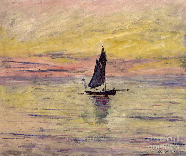 Wall Art - Painting - The Sailing Boat Evening Effect by Claude Monet