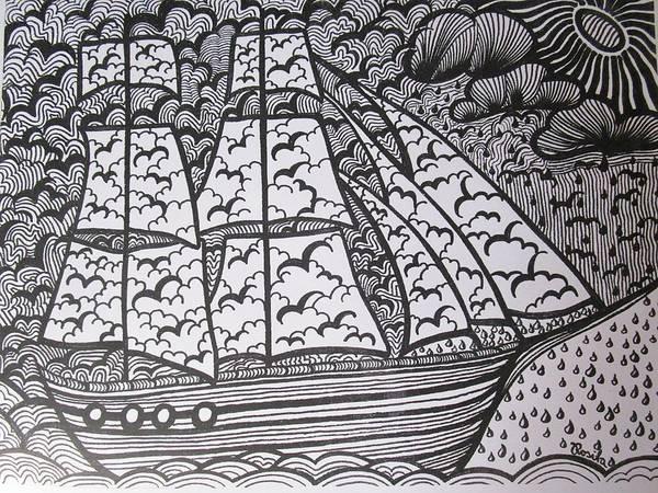 Drawing - The Sailing Ship by Rosita Larsson