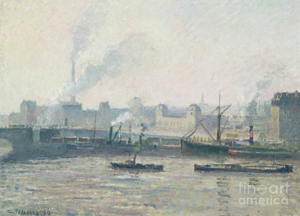 Wall Art - Painting - The Saint Sever Bridge, Rouen Mist, 1896  by Camille Pissarro