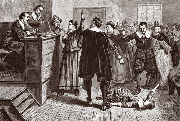 Satan Drawing - The Salem Witch Trials by American School