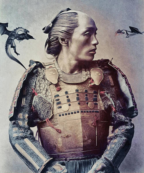Art Print featuring the mixed media The Samurai And The Dragons by Susan Maxwell Schmidt