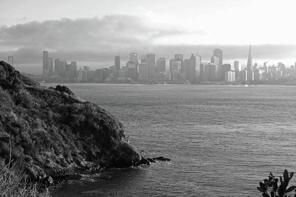 Photograph - The San Francisco Skyline From Treasure Island Black And White by Toby McGuire