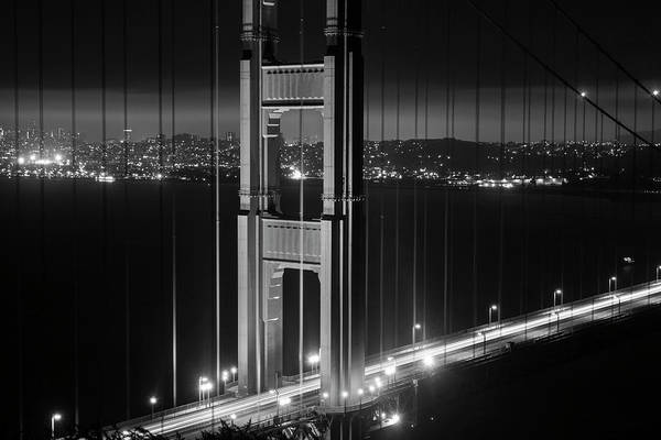 Photograph - The San Francisco Skyline Through The Golden Gate Bridge Black And White by Toby McGuire