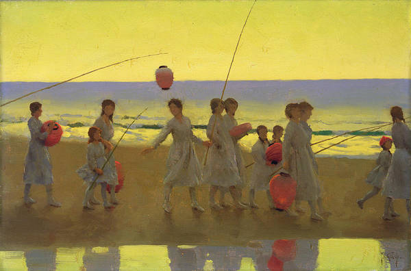 Chinese Girl Wall Art - Painting - The Sand Bar  by Thomas Cooper Gotch