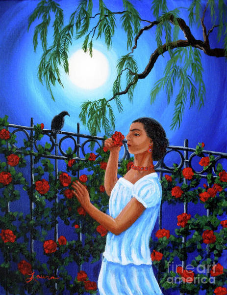 Full Moon Painting - The Scent Of Red Roses by Laura Iverson