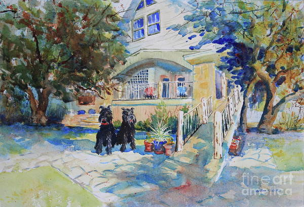 Central Texas Painting - The Schnauzer's Lake House by Marsha Reeves