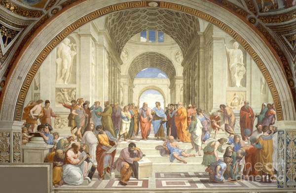 History Of Science Wall Art - Photograph - The School Of Athens, Raphael by Science Source