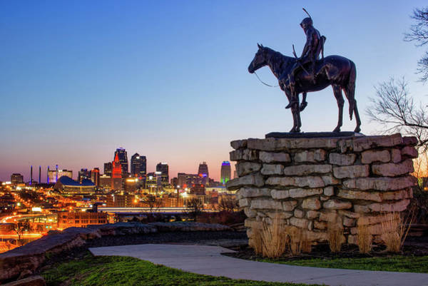 The Scout Overlooking The Kansas City Skyline Art Print