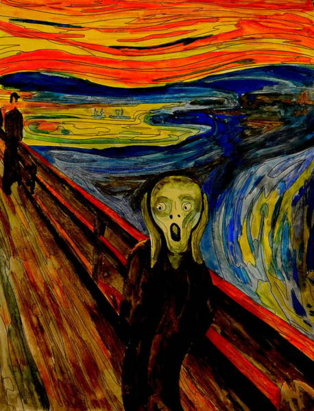 Anguish Mixed Media - The Scream After Edvard Munch by Betty-Anne McDonald