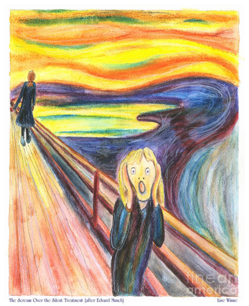Painting - The Scream Over The Silent Treatment After Edvard Munch by Lise Winne
