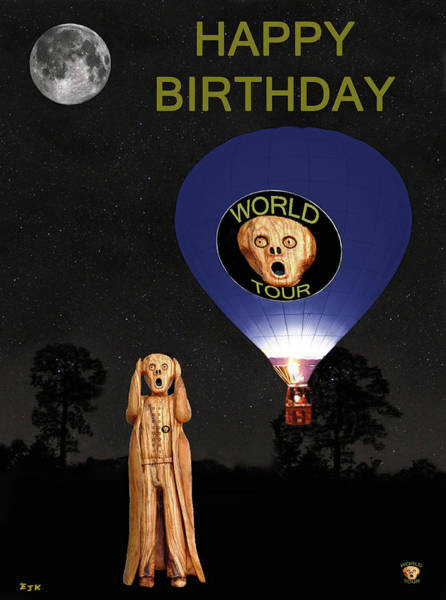 Mixed Media - The Scream World Tour  Ballooning Happy Birthday by Eric Kempson