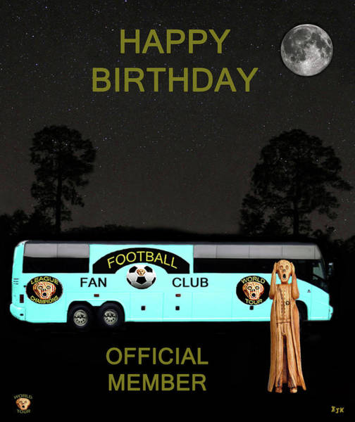 Mixed Media - The Scream World Tour Football Tour Bus Happy Birthday by Eric Kempson