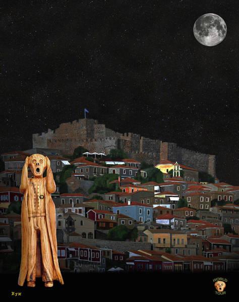 Mixed Media - The Scream World Tour Molyvos Lesvos Greece by Eric Kempson