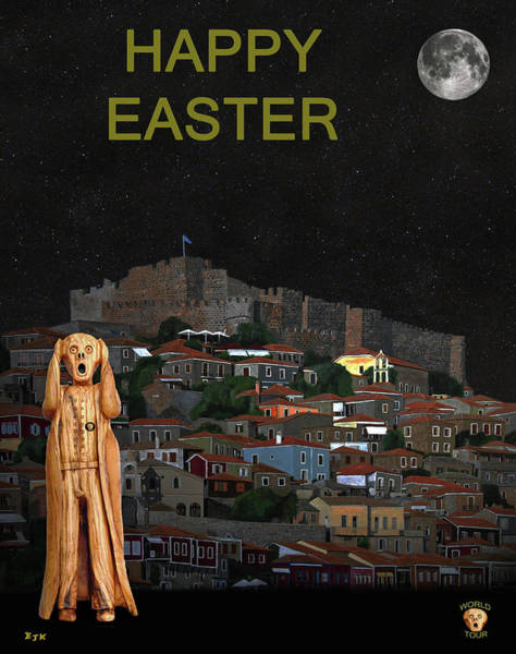 Mixed Media - The Scream World Tour Molyvos Lesvos Greece Happy Easter by Eric Kempson