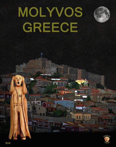 Mixed Media - The Scream World Tour Molyvos Lesvos Greece Molyvos by Eric Kempson
