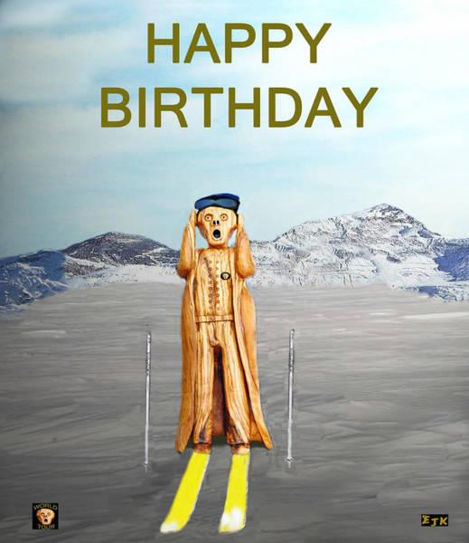 Mixed Media - The Scream World Tour Skiing Happy Birthday by Eric Kempson