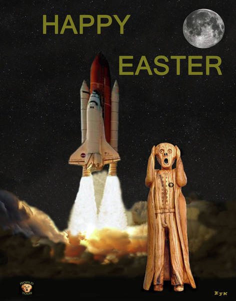 Space Station Mixed Media - The Scream World Tour Space Shuttle Happy Easter by Eric Kempson