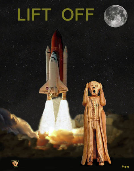Space Station Mixed Media - The Scream World Tour Space Shuttle Lift Off by Eric Kempson