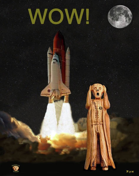 Space Exploration Mixed Media - The Scream World Tour Space Shuttle Wow by Eric Kempson
