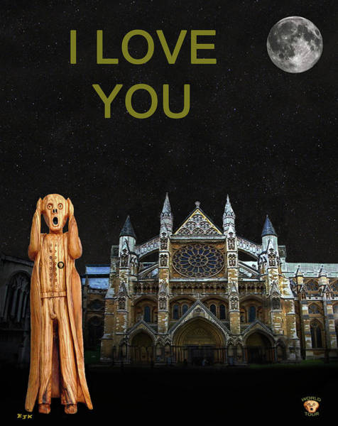 Mixed Media - The Scream World Tour Westminster Abbey I Love You by Eric Kempson