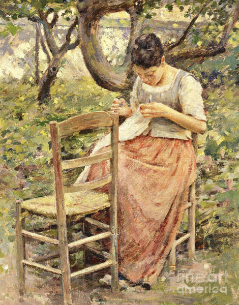 Mending Painting - The Seamstress by Theodore Robinson