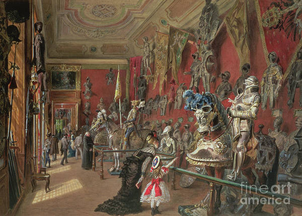 Lance Painting - The Second Armoury Room In The Ambraser Gallery Of The Lower Belvedere by Carl Goebel