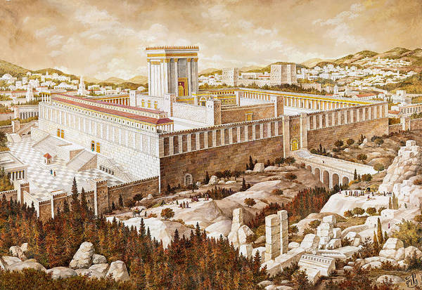 Hasidim Wall Art - Painting - The Second Temple Jerusalem by Aryeh Weiss