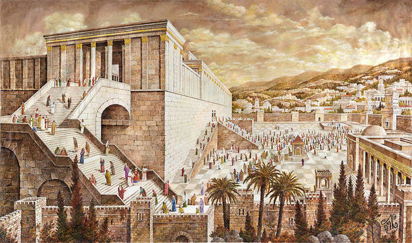 Hasidim Wall Art - Painting - The Second Temple. Pilgrims by Aryeh Weiss