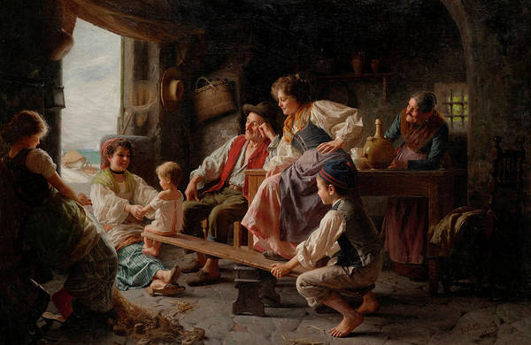Rural Life Wall Art - Painting - The Seesaw by Giovanni Battista Torriglia