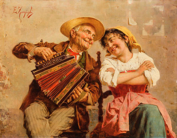 Rural Life Wall Art - Painting - The Serenade by Eugenio Zampighi