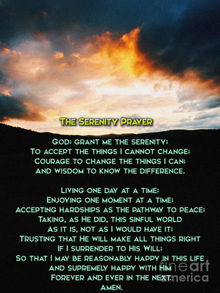 Unbroken Wall Art - Photograph - The Serenity Prayer by Celestial Images