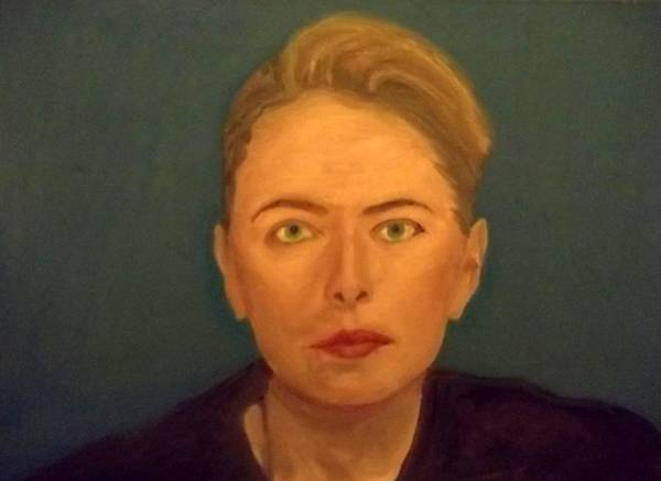 Straight Ahead Wall Art - Painting - The Serious Lady by Peter Gartner
