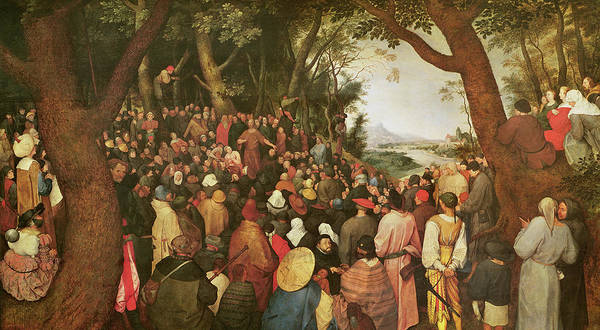 The Elder Painting - The Sermon Of Saint John The Baptist by Pieter the elder Bruegel