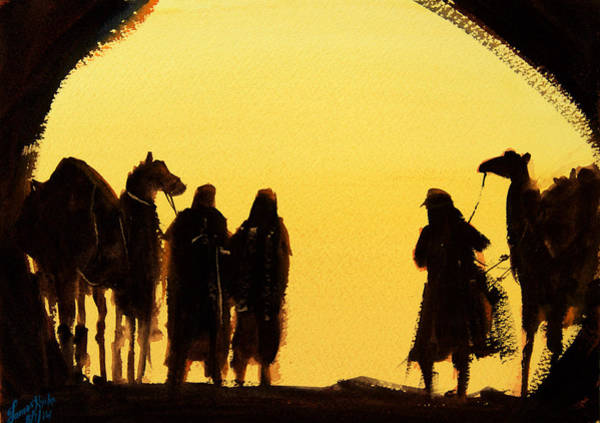 Berber Wall Art - Painting - The Setting Desert Sun by James Nyika