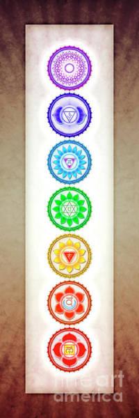 Sacred Heart Digital Art - The Seven Chakras - Series 6 Color Variant Warm Brown by Dirk Czarnota