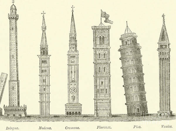 Wall Art - Drawing - The Seven Great Towers by English School