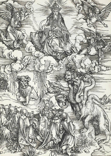 Relief - The Seven-headed Beast And The Beast With Lamb's Horns by Albrecht Durer