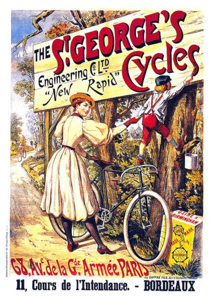 Wall Art - Mixed Media - The S'george's Cycles - Bicycles - Vintage French Advertising Poster by Studio Grafiikka