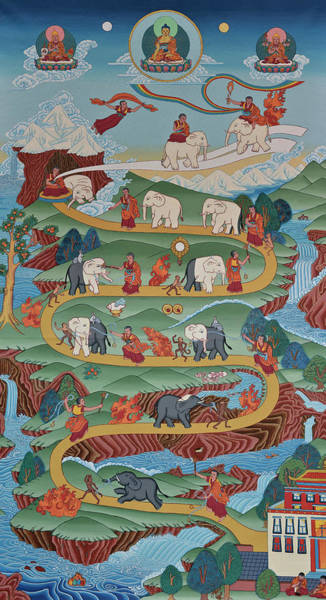 Tibetan Wall Art - Painting - The Shamatha Meditation Path by Marlies Bruin