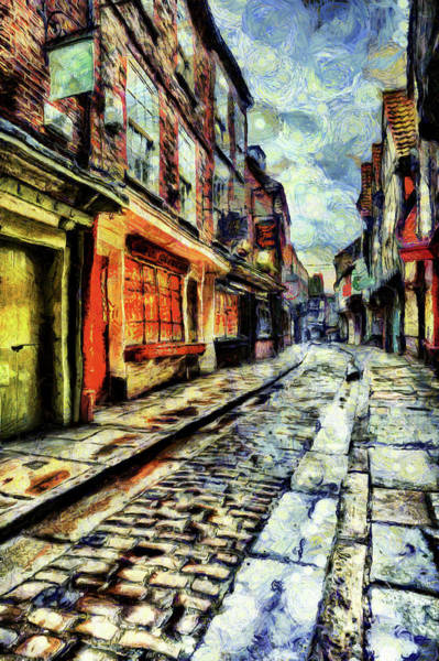 Wall Art - Mixed Media - The Shambles York Van Gogh by David Pyatt