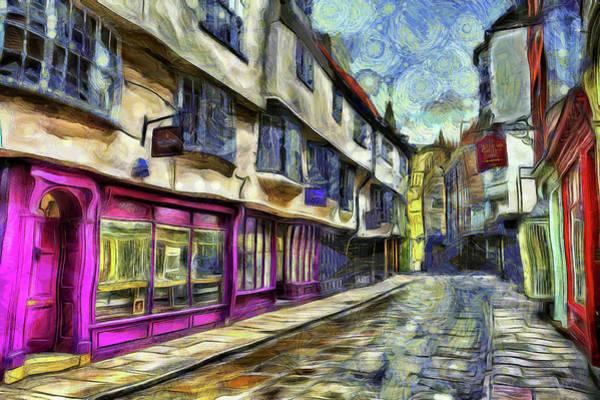 Wall Art - Mixed Media - The Shambles York Vincent Van Gogh by David Pyatt